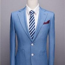 Светло-голубой мужской пиджак с отворотом формальный Повседневный приталенный пиджак Жених вечерний Выпускной Блейзер сделанный на заказ