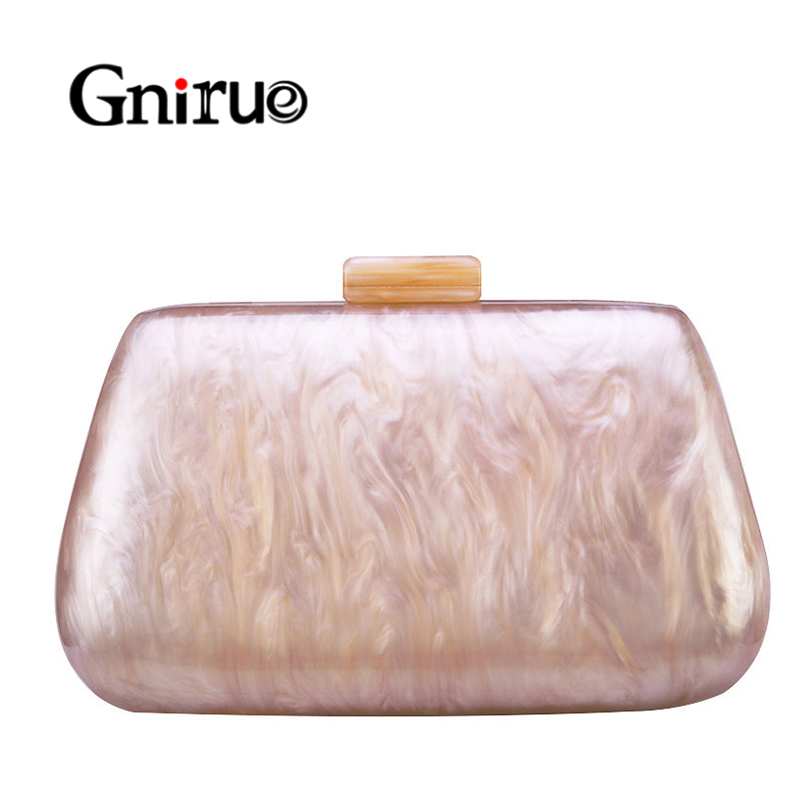 New Pearlescent Marble Acrylic Bags Luxury Women Messenger Bags Vintage Elegant Evening Bags Party Handbags Casual