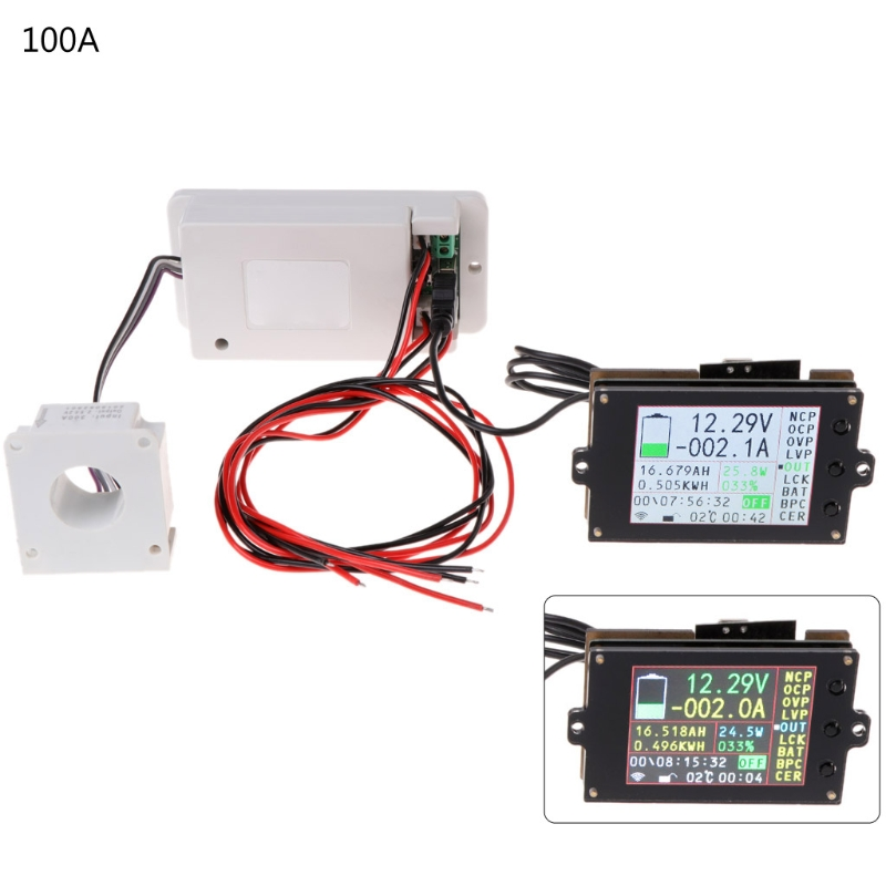 DC 500V 100A 200A 500A Wireless voltage meter ammeter Solar Battery Charging coulometer capacity Power detector Tester qm200hh h 200a 500v