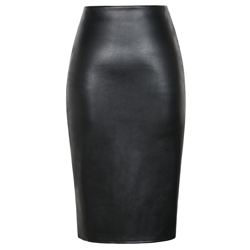 Image 5 - Neophil 2019 Sexy Faux Fur Leather Pu Midi Women Pencil Skirts High Waist Black Ladies Office Wrap Stretch Jupe Femme Saia S1102-in Skirts from Women's Clothing