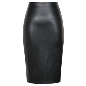 Image 5 - Neophil 2020 Sexy Faux Fur Leather Pu Midi Women Pencil Skirts High Waist Black Ladies Office Wrap Stretch Jupe Femme Saia S1102
