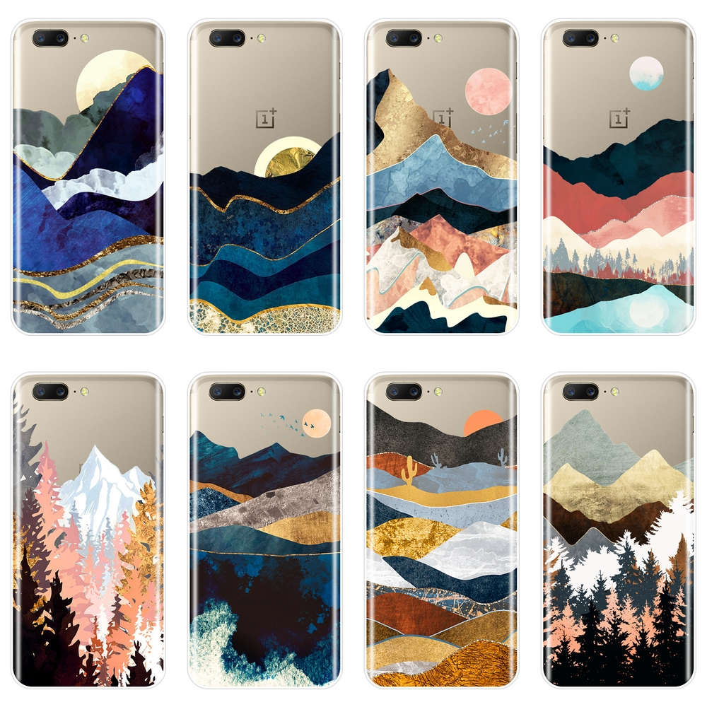 Mountain Marble Moon Sun Forest Tree Back Cover For <font><b>One</b></font> <font><b>Plus</b></font> 3 3T 5 5T <font><b>6</b></font> 6T Soft <font><b>Phone</b></font> <font><b>Case</b></font> Silicone For OnePlus <font><b>6</b></font> 6T 5 5T 3 3T image