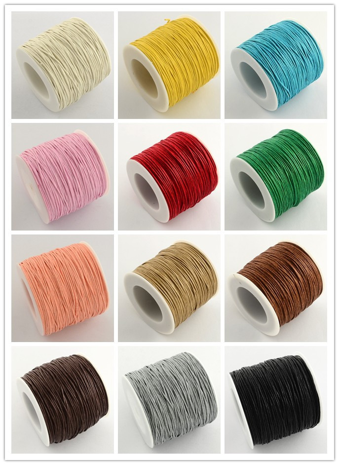 74m/roll Waxed Thread Cotton Cord 1mm String Strap Fit shamballa Bracelet Necklaces Jewelry Findings for DIY , about 27colors