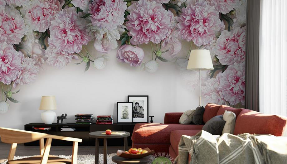 Custom 3d photo European romantic peony flowers 3d wallpaper 3d mural for living room large tv background 3d wall paper mural