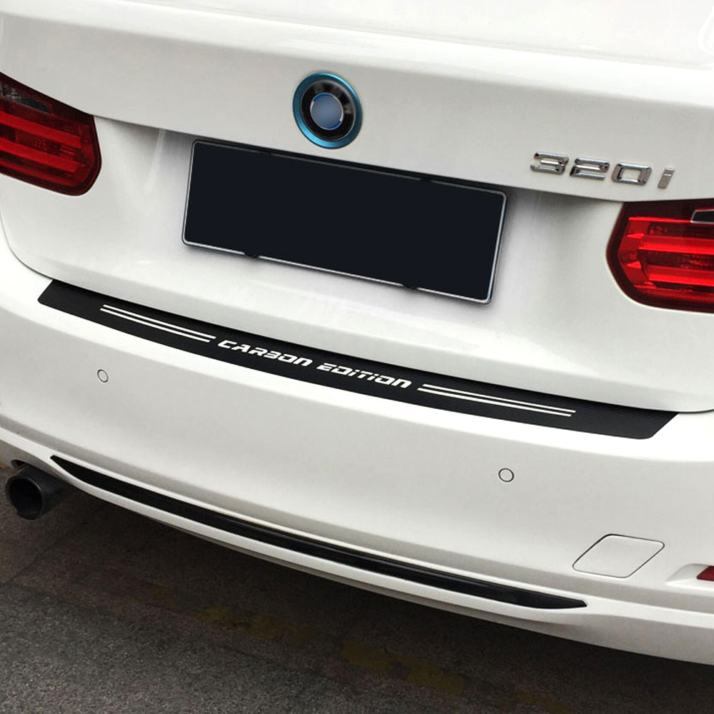 Carbon Fiber Styling Rear Bumper Trunk Guard Sticker For <font><b>bmw</b></font> e39 e46 e90 f30 f10 <font><b>f01</b></font> f20 Car Sticker and Decal <font><b>Accessories</b></font> image