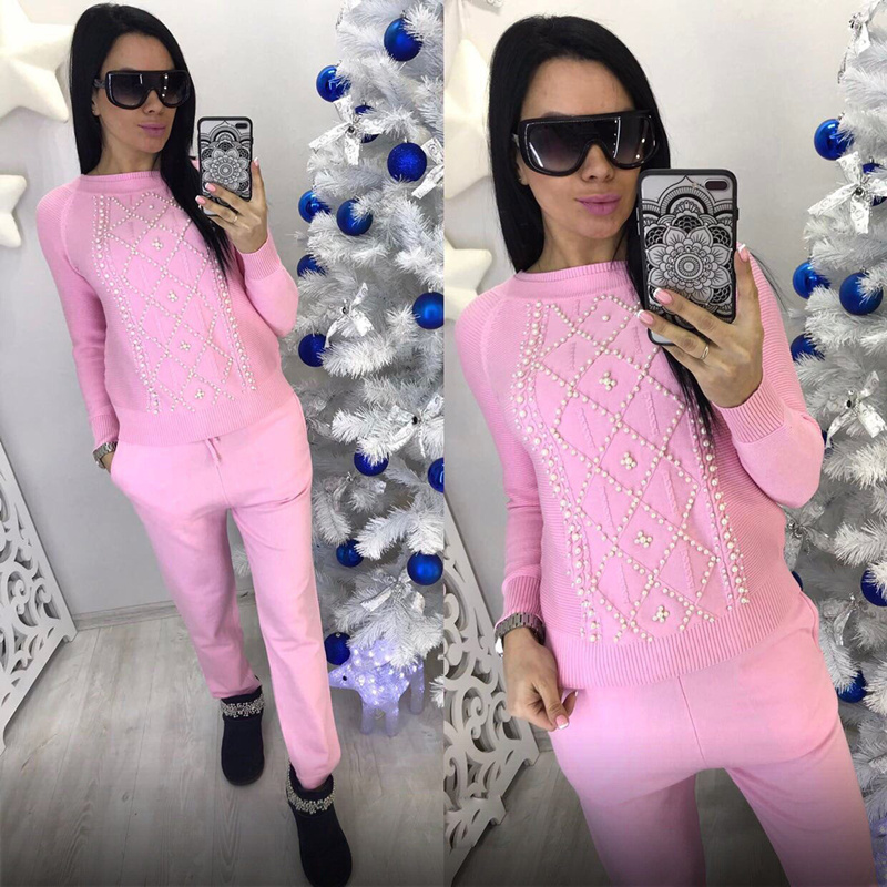 Aautumn Winter Women Sweaters Knitting suits 2 Pieces Sets Knitted Beading top and pants Woman Pullovers tracksuit
