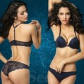 Top quality 2016 women lace bra push up sexy lady's underwear Y shape backless gather bra sets free shipping