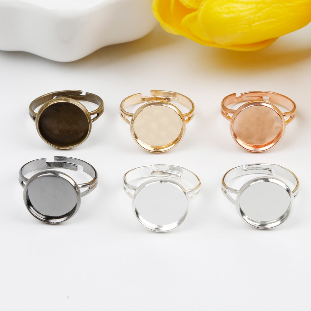 10pcs /lot New Style Adjustable Blank Ring Base Fit For 12mm Cabochons Cameo Setting DIY Ring Jewelry Findings Making