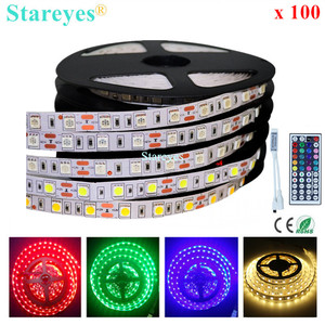 100 Pcs SMD 5050 RGB LED Strip 5m 300 LED DC12V IP20 Non Waterproof flashlight Single color tape string Ribbon Light lighting