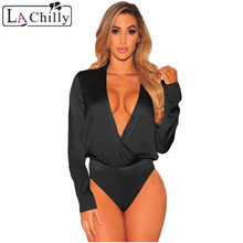 La Chilly Sexy Femme Body Mujer Black V-Neck Top Silky Faux Wrap Long  Sleeve Bodysuit Womens Body Suits LC32180 Mono Corto Mujer c4564d8c3