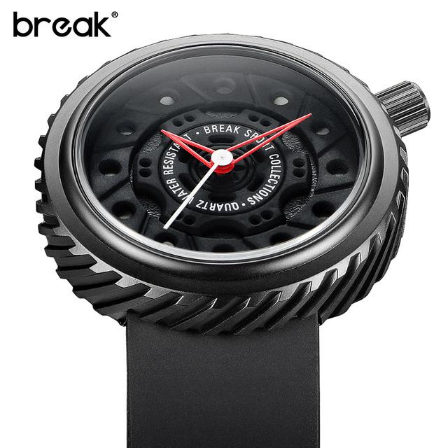 QUEBRAR Top Homens De Luxo Corrida Moto Esporte Relógios Pulseira de Borracha Moda Casual À Prova D' Água Paixão Nerd Criativo Presente Relógio de Pulso