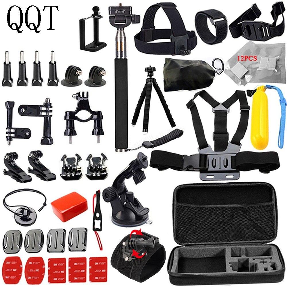 QQT pour accessoires GoPro Kit pour GoPro 7 6 5 Noir Session accessoires GoPro Faisceau Ensemble pour GoPro Hero 4 3 + 3 2 SJCAM Xiaomi