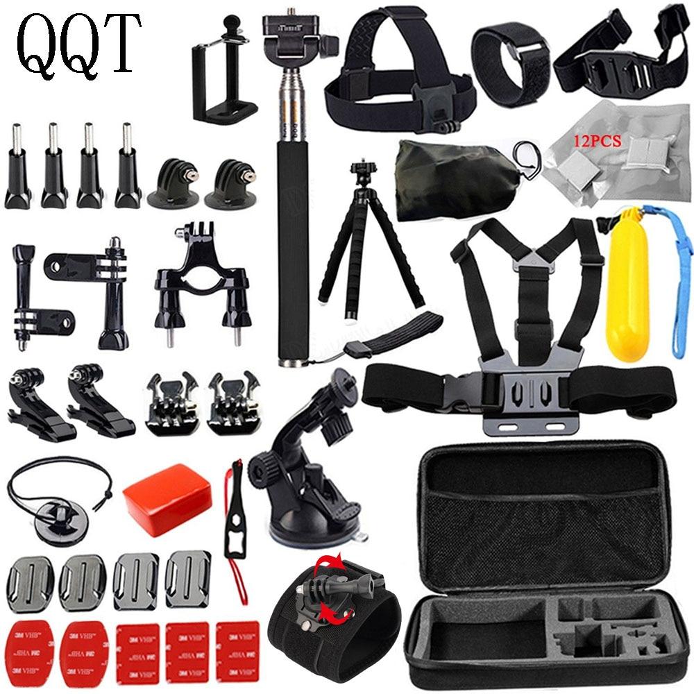 QQT pour Gopro accessoires Kit pour GoPro 7 6 5 noir Session GoPro accessoires ensemble pour GoPro Hero 4 3 + 3 2 SJCAM Xiaomi