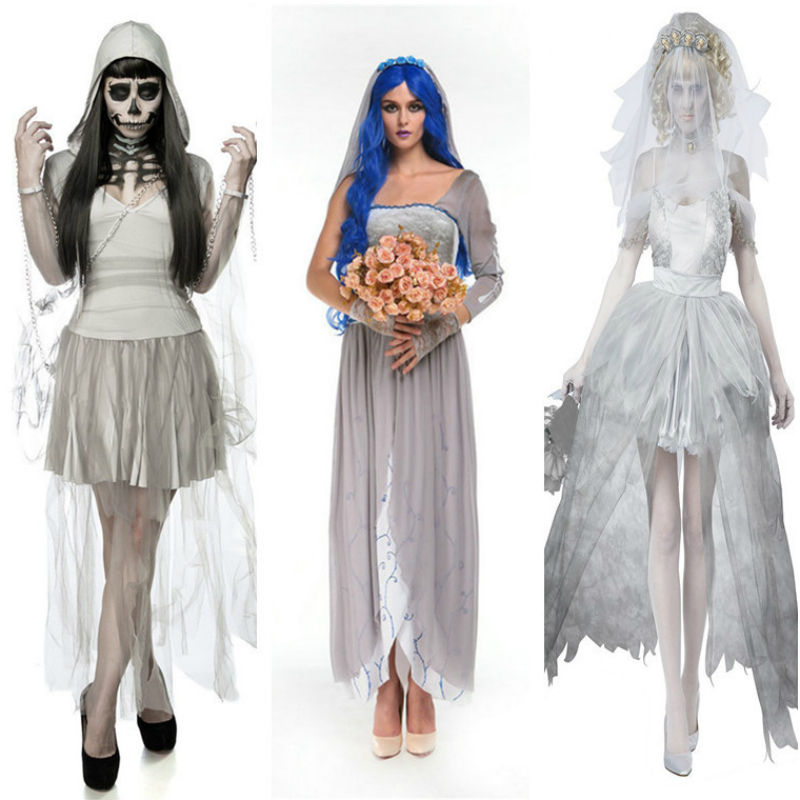 Women Dress Anime Cosplay for Vampire and Ghost Bride Vestidos Costumes for Adult Zombie and Witch Princess in Halloween Party