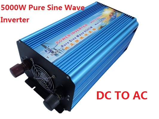 цена на Off Grid dual digital display 5000W surge power 10000W DC12V/24V/48V to AC110V/220V Pure Sine Wave Solar & Wind Inverter