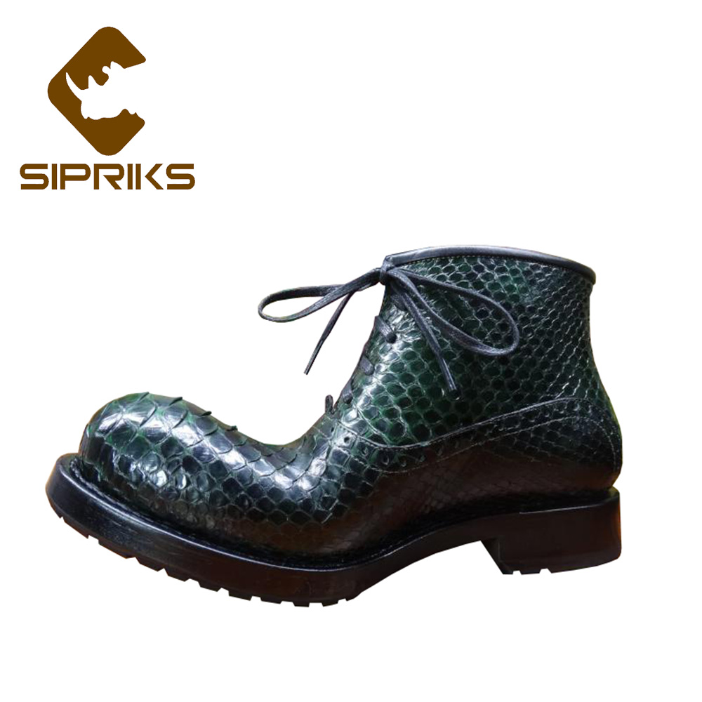 Sipriks Luxury Brand Mens Real Snakeskin Boots Dark Green Designer Boots European Americ ...