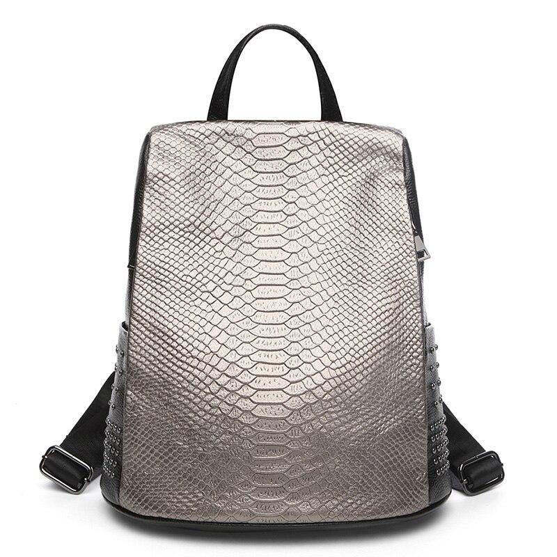 Leisure High Quality Women Backpack Genuine Leather Crocodile Pattern Ladies Bagpack Large Capacity School Bag Travel Bag