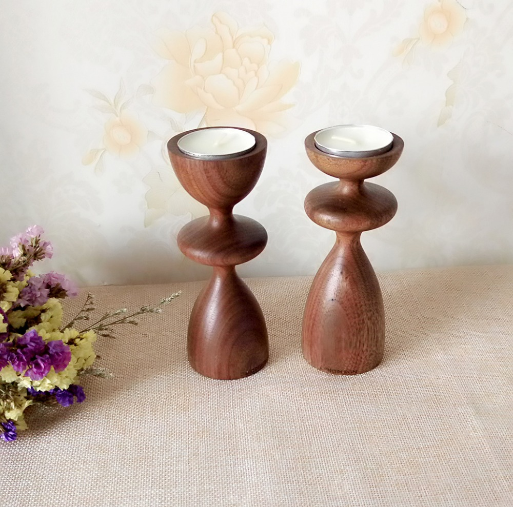 Wooden candle holders crafts - Natural Walnut Candlestick Holder Festival Wedding Coffee Supplies Wood Craft China Mainland