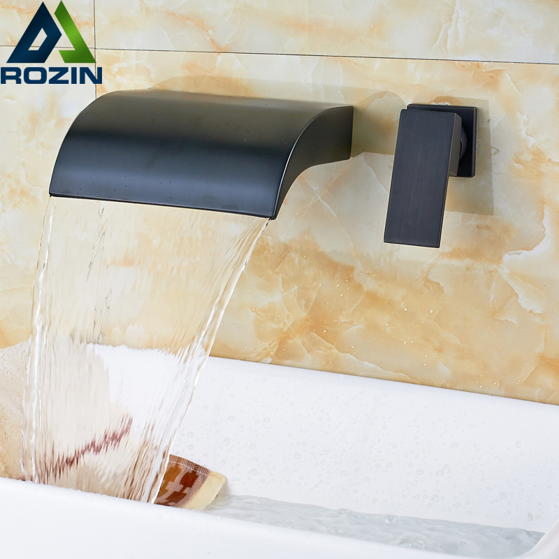 Luxury Waterfall Basin Faucet Wall Mount Single Handle Bathroom Sink Mixer Taps Oil Rubbed Bronze Finish