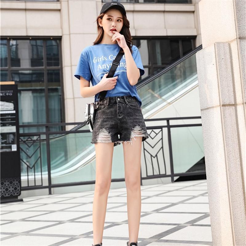 Hole Jeans Shorts Black Plus-Size Summer Fashion Women's New Burr Wide-Leg Girls