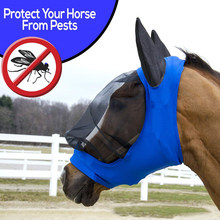 Anti UV Anti-mosquito Horse Fly Mask Ear Cover Blue Summer Breathable Armour Comfort Pet Supplies Mesh Horse Protector Full Face(China)