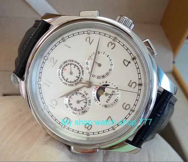 Saatler'ten Mekanik Saatler'de 44mm PARNIS Beyaz kadran Otomatik Kendinden Rüzgar Çok functionmen erkek saati çiğ toptan mekanik saatler 0382aa'da  Grup 2