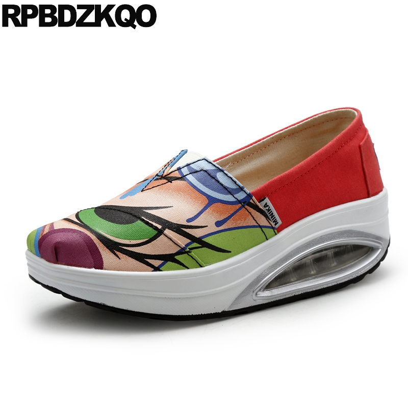 Elevator Women Floral Lightweight Swing Thick Sole Cheap Shoes China Square Toe Canvas Flats Green Spring Autumn Beautiful