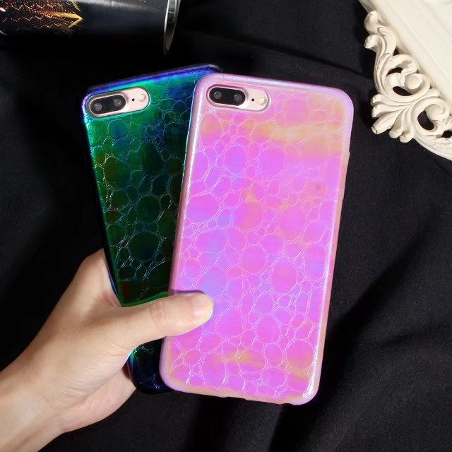 on sale 38d4d 1c2ae US $1.03 16% OFF|Green blue Hot Pink Case Cover Skin Brilliant Cool  Shockproof Style Charming for iPhone 7 plus Bright Laser stone pattern  Shiny-in ...