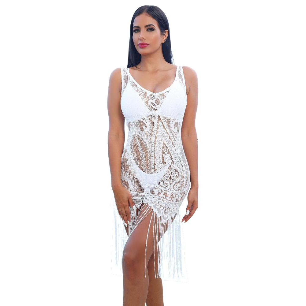 Adogirl <font><b>sexy</b></font> hollow out <font><b>transparent</b></font> women <font><b>night</b></font> <font><b>club</b></font> <font><b>dress</b></font> lace embroidery lace up bodycon for women long tassel beach <font><b>dress</b></font> image