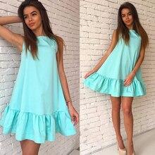 Yaz katı kadınlar elbiseler A line kolsuz ruffles gevşek zarif elbise tatlı moda rahat mini plaj elbiseleri vestidos LD57