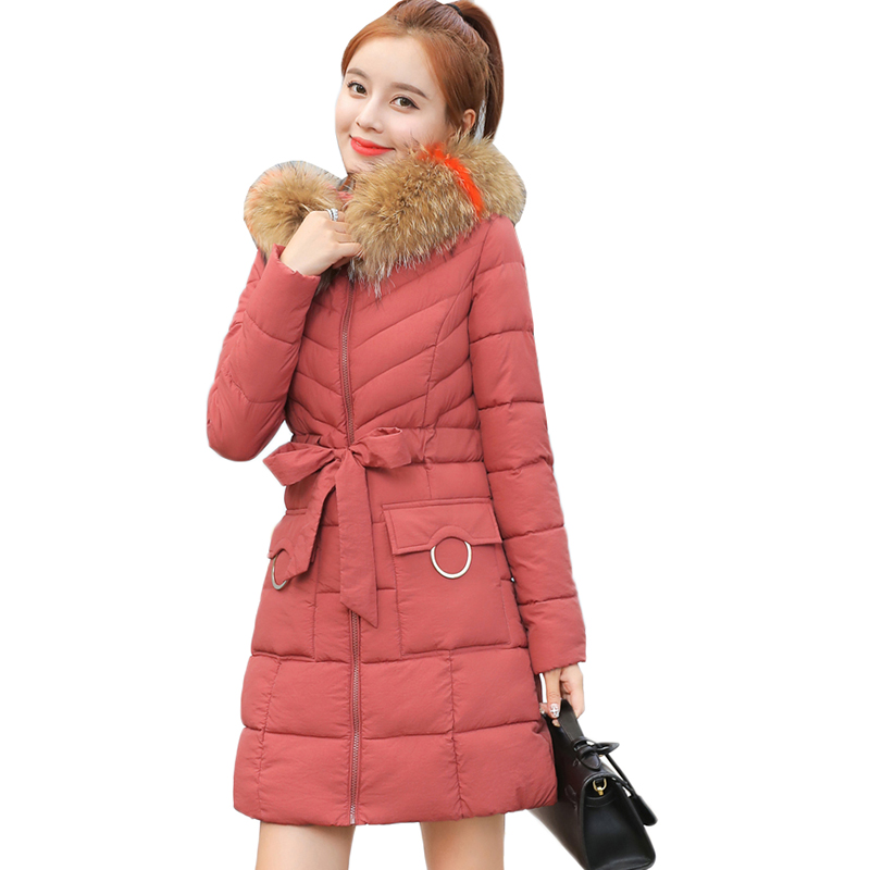 Winter Jacket Women 2018 New Artificial Fur collar Hooded Coats Female   Parka   Thick Cotton Padded Lining Ladies Warm Outerwear