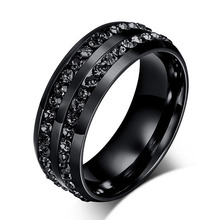 Drop Shipping Black Gun Color Crystal rings for women and men stainless steel wedding ring vintage jewelry