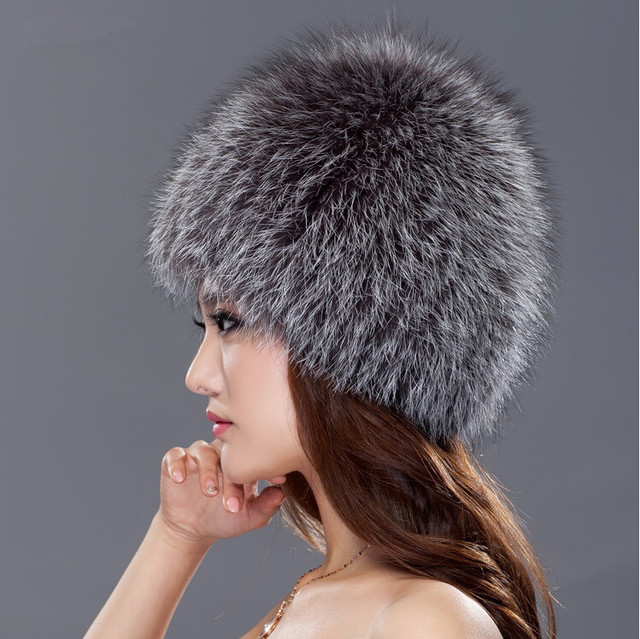 5a2f2bc7b7ba2 Best New Natural Real Knitted Fox Fur Hats For Women Winter Silver Fox White  Good Gift Retail Genuine Mink Fur Hat Wholesale