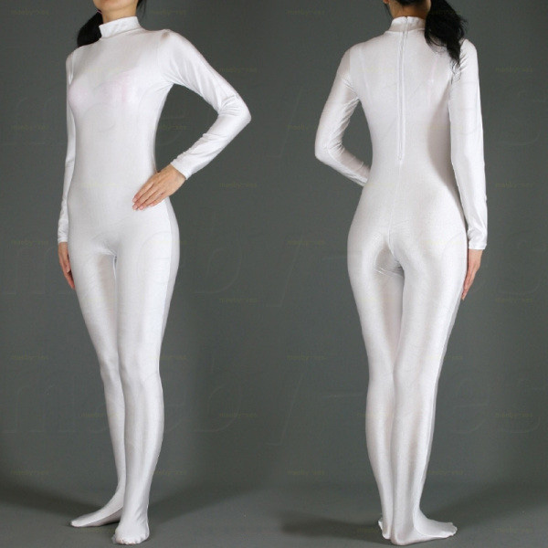 Free Shipping Hot Selling Lycra Spandex White Zentai Full Bodysuit Halloween Fancy Cosplay Party Costumes Second