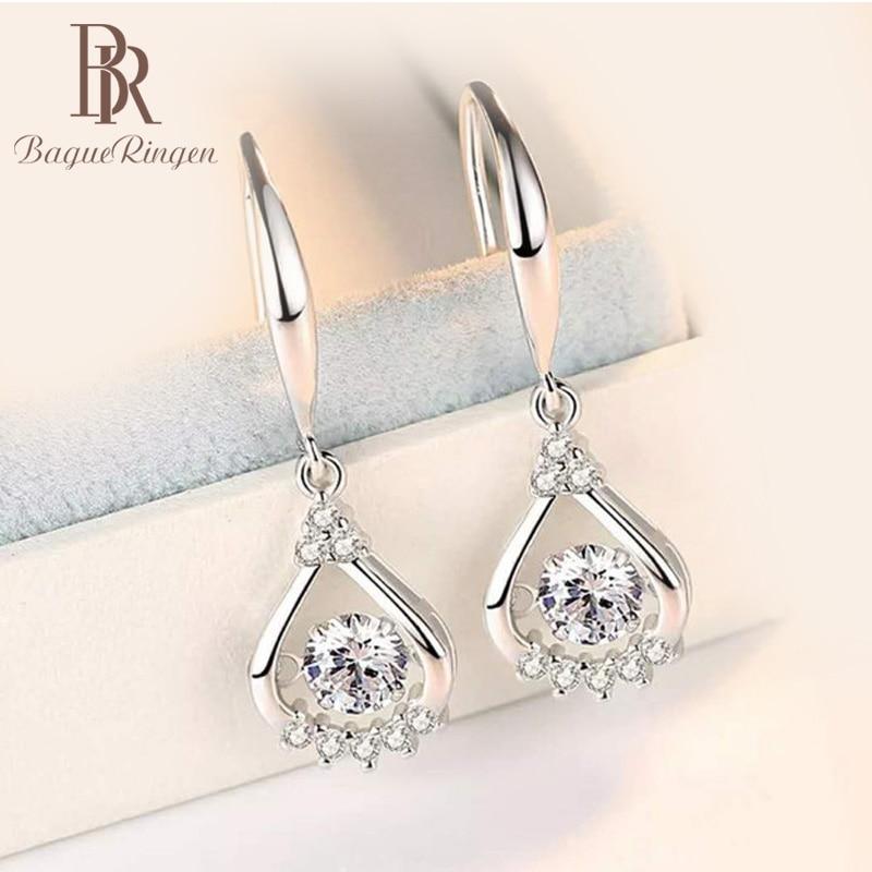 Begua Ringen Fashion 925 Sterling Silver Zircon Drop Earrings For Women Real 100% Silver Earring Wholesale Party Wedding Gifts