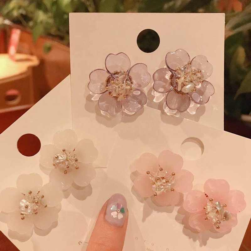 MENGJIQIAO 2019 New Korean Acrylic Flowers Transparent Crystal Colorful Stud Earrings For Women Elegant Pendientes Mujer Jewelry
