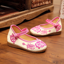New chinese style beautiful flower embroidery canvas Preschool children flats simple shoes for child foot length 15-18.5cm