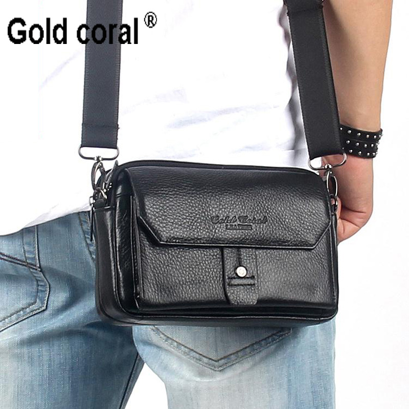 ФОТО gold coral new style genuine leather smalll messenger bags for men waist pack shoulder bags cowhide