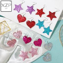 XZP Cute Blingbling Glitter Heart Star Drop Danggle Earrings Fashion Shiny Korean Pentagram Love For Women Girls