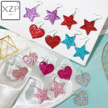 XZP Fashion Craft Glitter Hearth Star Drop Earrings Resin earring for Birthday Gift Child Girls Teens Jewelry(China)