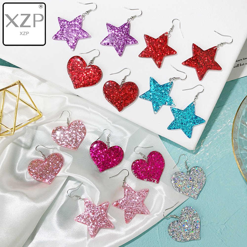 XZP Moda Artesanato Glitter Coração Estrela Brincos Gota brinco de Resina para Adolescentes Meninas Criança Presente de Aniversário de Jóias