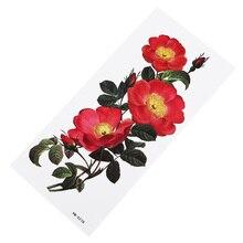 Женские красные цветы татуировки переводные поддельные сексуальные бедра татуировки Роза искусство шеи руки рукава горячая Распродажа Временные татуировки стикер