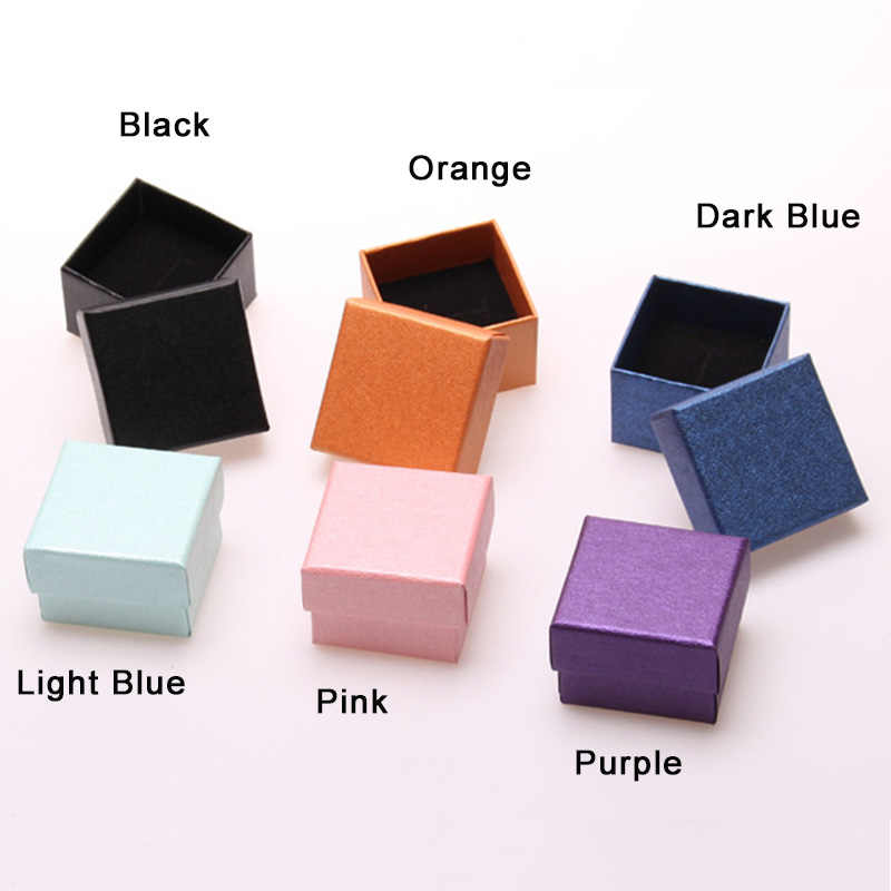 مربع صديقة للبيئة ورقة صندوق مجوهرات مع الإسفنج الأسود الصغيرة بلون أقراط خاتم عرض التعبئة والتغليف حقيبة للتخزين