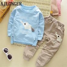 цена на 2017 Autumn Winter Kids Clothing Sets Baby Boys Girls Cartoon Elephant Cotton Set Winter Children Clothes Child T-Shirt+Pants Su