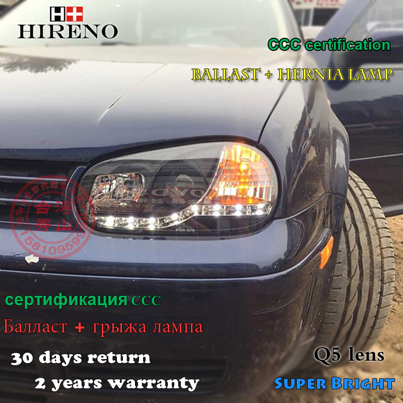 Hireno Headlamp for 2003-2009 Volkswagen Golf 4 Golf4 Headlight Assembly LED DRL Angel Lens Double Beam HID Xenon 2pcs hireno headlamp for 2009 15 volkswagen scirocco headlight assembly led drl angel lens double beam hid xenon 2pcs