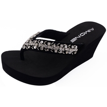AIMONE Women Flip Flops Stella Rhinestone Sandals Beach Slippers Shoes Summer Lady Wedges
