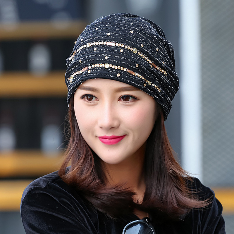 Mingjiebihuo New fashion female personality hat spring and summer thin section lace turban cap head cap