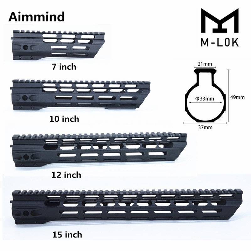 Mlok Handguard Free Float Super Slim Ar 15 M-Lok Handguard Quad Rail W/ Nut Fit .223 For AR15 M4 M16 M Lok Handguard