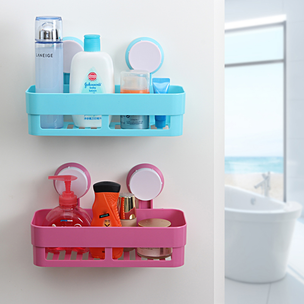 Plastic Suction Cup Bathroom Kitchen Corner Storage Rack Organizer ...