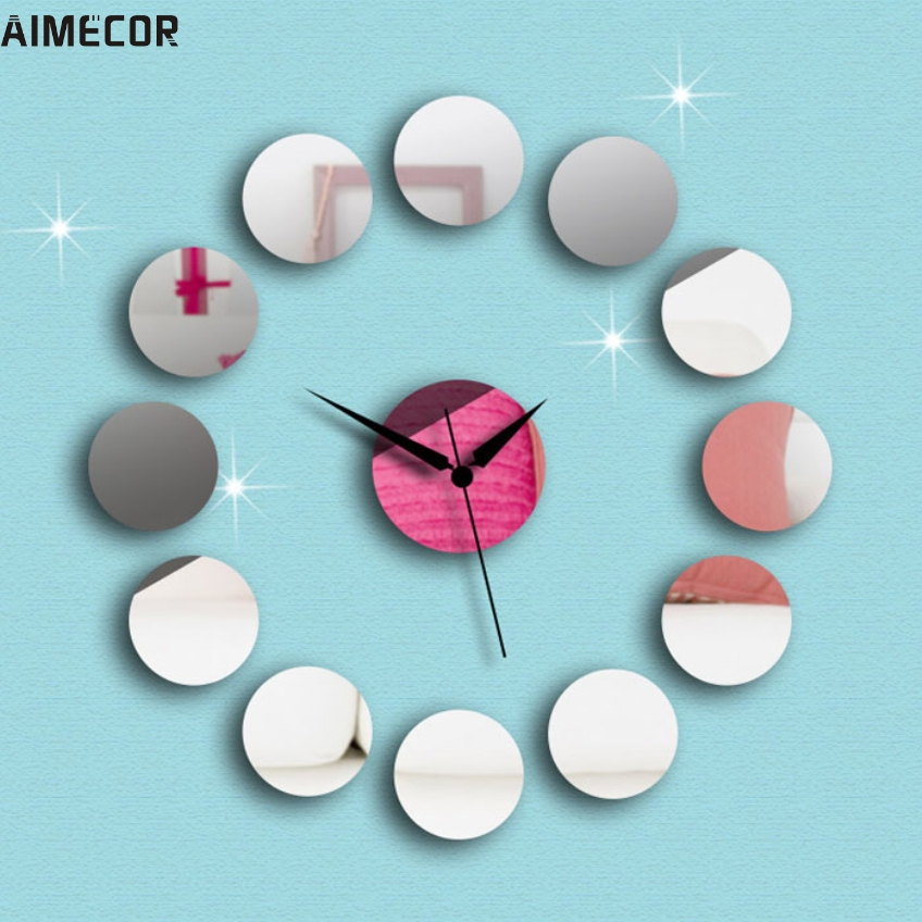 Aimecor Fashion Happy Gifts High Quality Modern Art Round DIY Mirror Wall Clock Wall You Can Have It Right Now